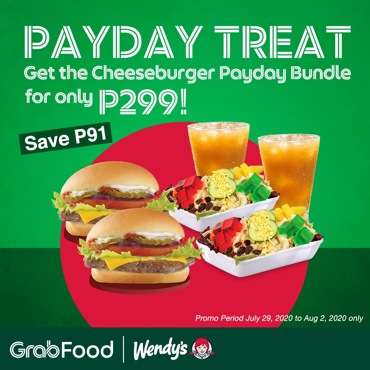 Sweldo na! Treat yourself and a friend with the new Cheeseburger Payday Bundle! Enjoy 2 Cheeseburger Deluxe, 2 Macaroni Side Salads, and 2 Iced Teas for just P299! Order via Grab, https://t.co/lAfPE697Zv, or our hotline at 8-533-3333 from July 29 - August 2, 2020. https://t.co/xajuiPggyN