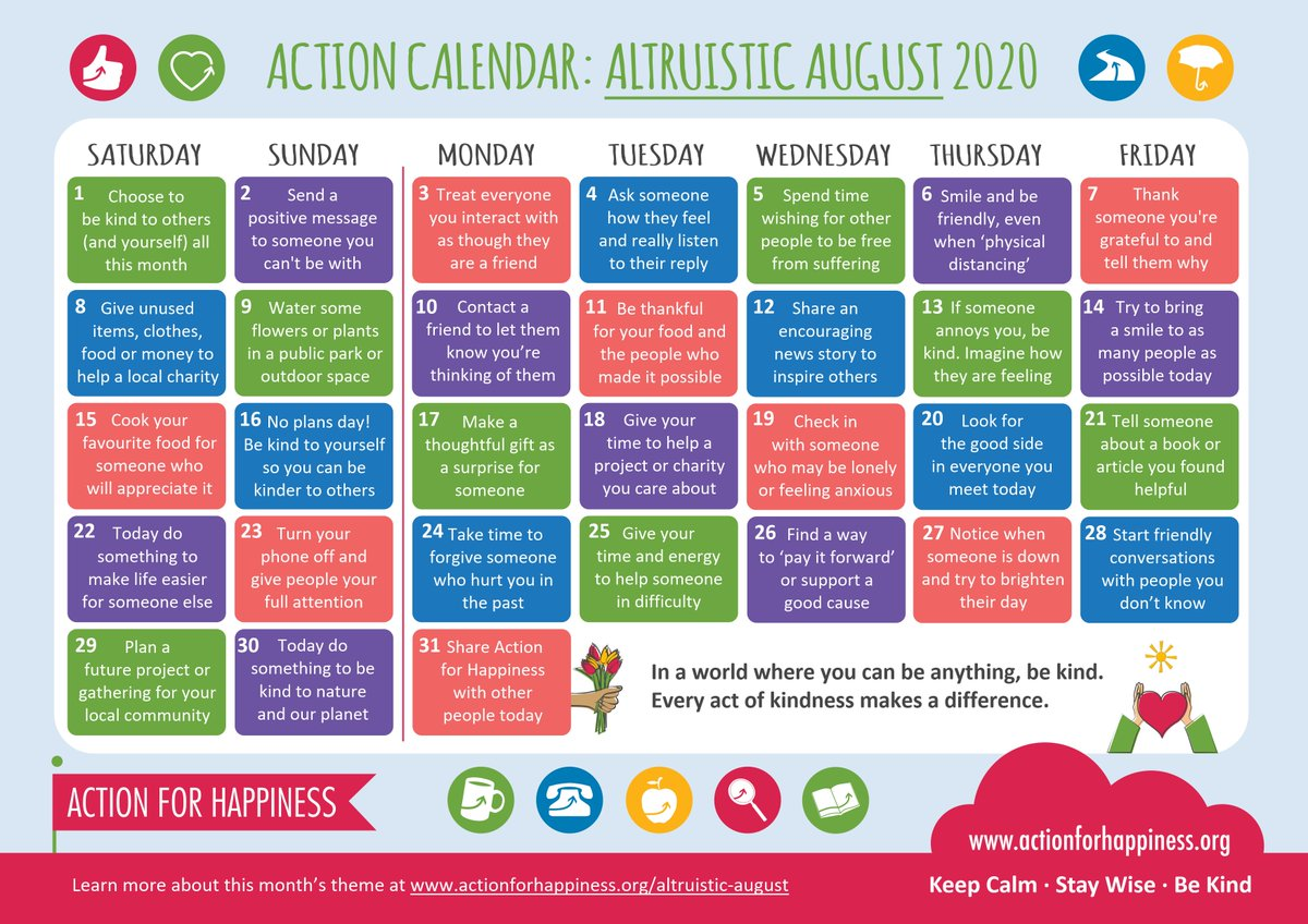 When we do good we feel good. Join us for Altruistic August and help spread a bit more kindness in the world 🙏☀️🌎 actionforhappiness.org/altruistic-aug… #AltruisticAugust #HappierWorld