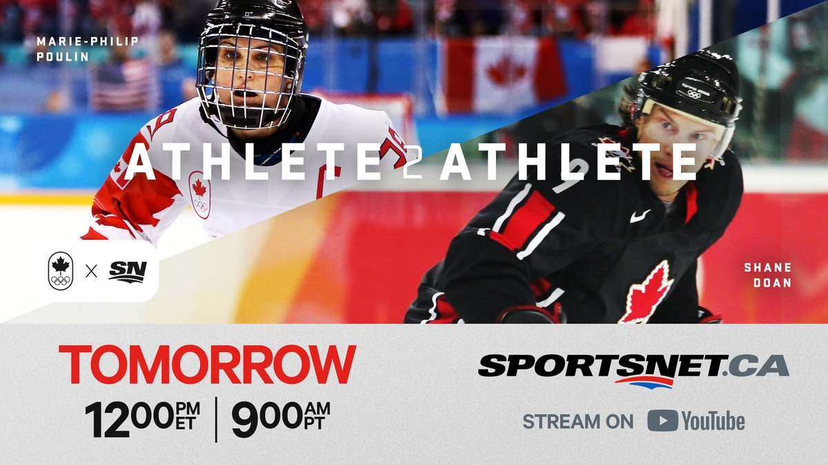 🏒 #Athlete2Athlete 🏒  @TeamCanada 🇨🇦 Olympians Marie-Philip Poulin (@pou29) & Shane Doan go beyond the sports headlines to have an honest and open conversation on social issues.  Watch Episode 6️⃣ TOMORROW at 12pm ET/9am PT on https://t.co/ebFtzljTvo & YouTube. https://t.co/Y6EOXyufte