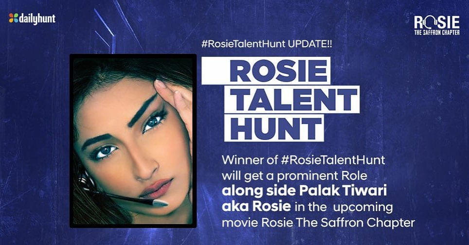 The last date to submit your entries in #RosieTalentHunt is 12-August. To be judged by Kishore Namit Kapoor. As promised, we will cast the winner in a prominent role in the film alongside our #Rosie, @palaktiwarii @mandiraa_ent @RosieIsComing @vivekoberoi #PrernaVArora