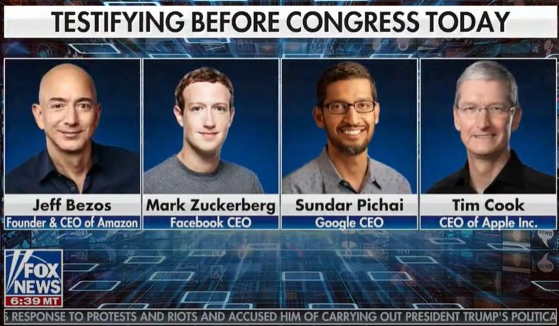 今日はGAFAの全CEOが出席する反トラスト公聴会が開かれますよ~「オンラインプラットフォームと市場支配力:Amazon、Apple、Facebook、Googleの支配力を検証」