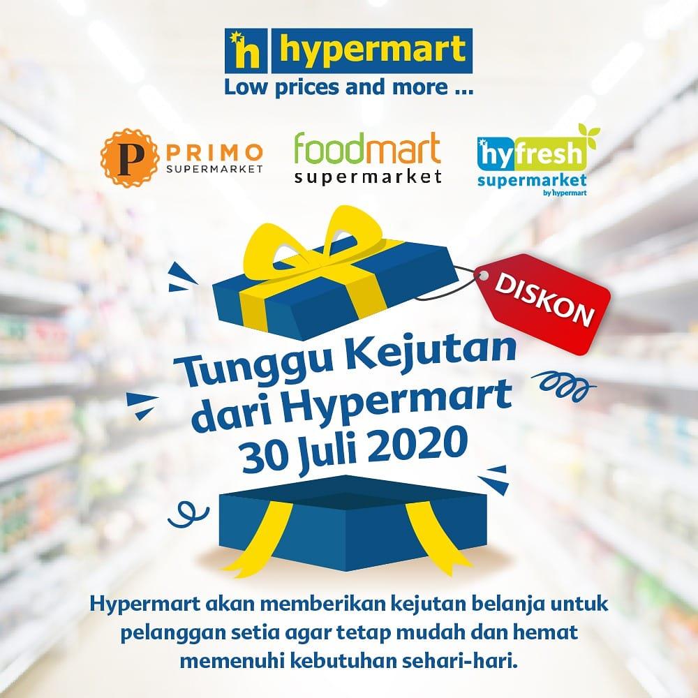 Halo Lovers! Ada yang seru nih, @hypermart_id @hypermartbinjai akan memberikan kejutan belanja spesial untuk kamu besok, 30 Juli 2020. . Penasaran seperti apa kejutannya? Jangan lupa ke Hypermart besok yaa :)  #hypermart #hypermartid #kejutanhypermart #promo #diskon #murahbanget pic.twitter.com/eeaM0E4HeP