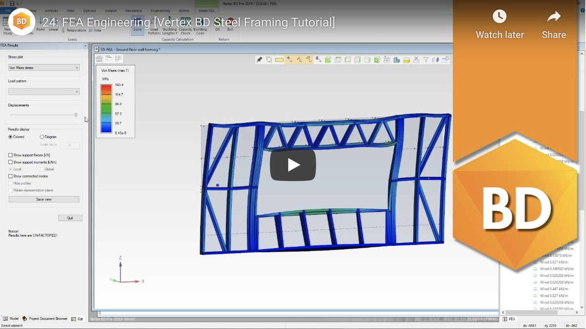 #Tutorial: This video will show you how to use the #FEAEngineering component for #VertexBD; covering the process from adding and linking nodes to running the capacity check. Watch video: https://youtu.be/YFkJnD-KQt0   See more tutorials: https://bit.ly/2J1H1C9   #BIM #VertexEngineeringpic.twitter.com/Z5TVi6UJ0i