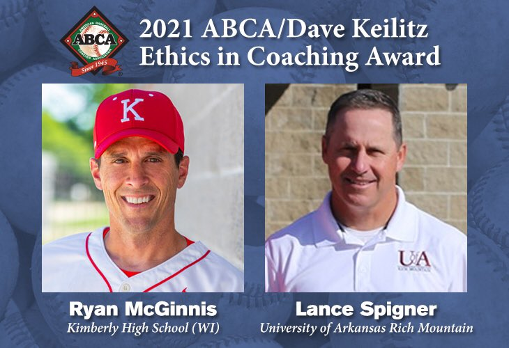 Congratulations to Ryan McGinnis (@CoachMcGinnis) of @thekimberlybase & Lance Spigner (@Spigner23) of @UARMBucks on being named the 2021 ABCA/Dave Keilitz Ethics in Coaching Award recipients! FULL RELEASE 📝 abca.org/ABCA/Awards/Et…