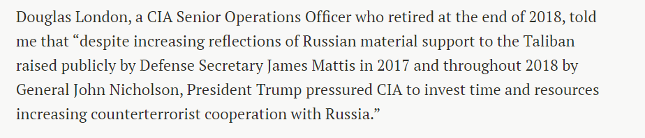 6. Recall another signal Trump sent Putin over this time. Trump was not just silent. Trump pushed CIA to set up program to give the Kremlin ... US intelligence on counterterrorism. This from CIA Senior Operations Officer @douglaslondon5 (served until end of 2018)👇