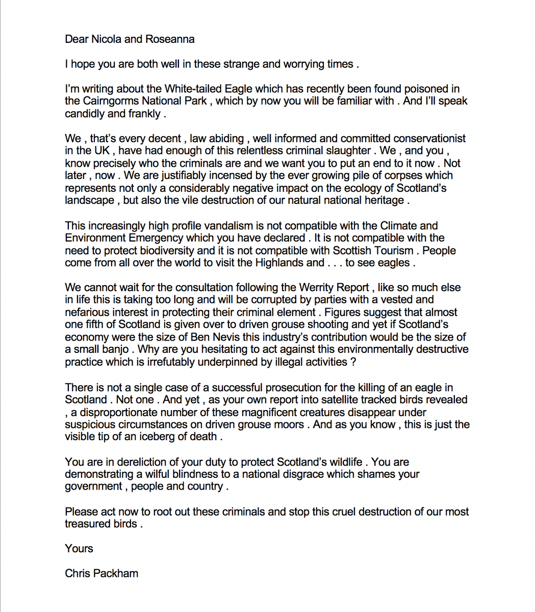 Today I sent this letter to @NicolaSturgeon and @strathearnrose in @scotgov . I've had enough of the criminal slaughter of our raptors on driven grouse moors . Please send polite emails yourself to firstminister@gov.scot CabSecECCLR@gov.scot PLEASE RT https://t.co/M6J8BQYzI2