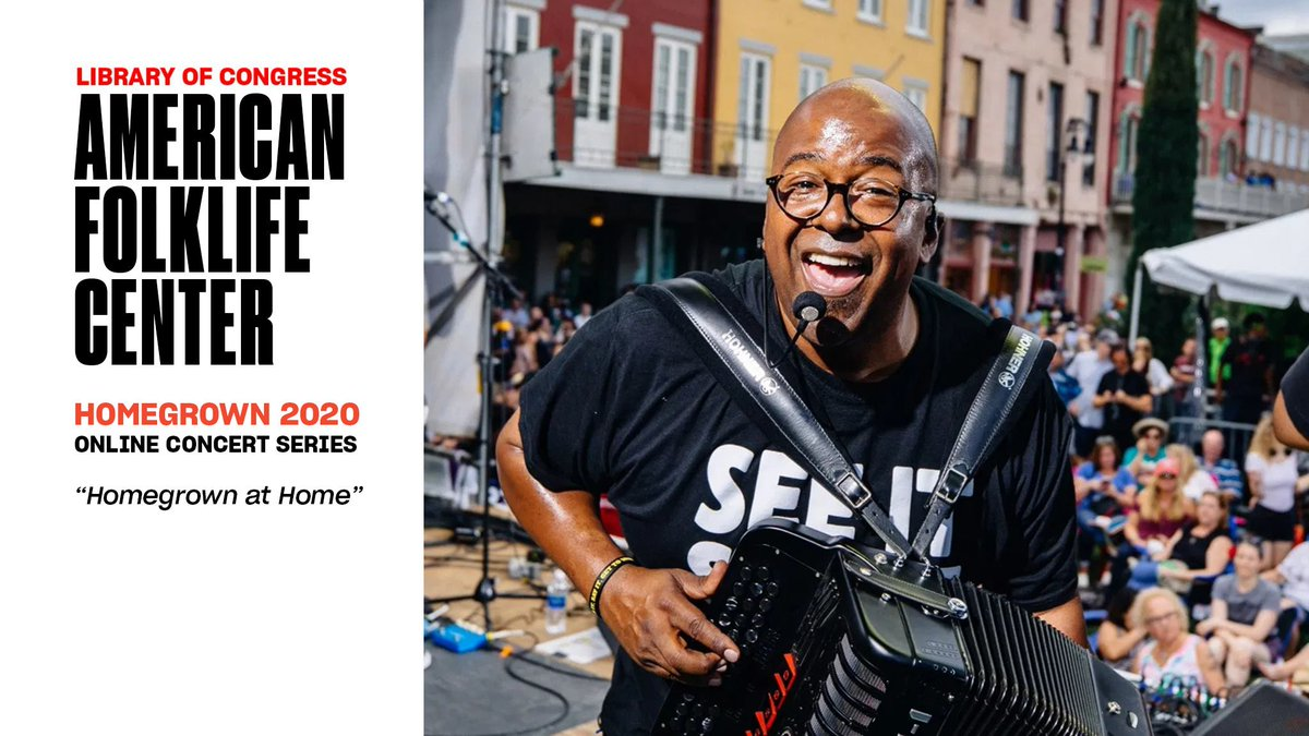 WATCH: On today's noontime Homegrown concert, Sean Ardoin performs his unique and authentic brand of American Creole music. July 29 at noon ET on our Youtube channel & the American Folklife Center Facebook page -- don't miss it!  https://t.co/VmH0iIGbWs https://t.co/vAC6i7n5mM https://t.co/G17tbIdV4v