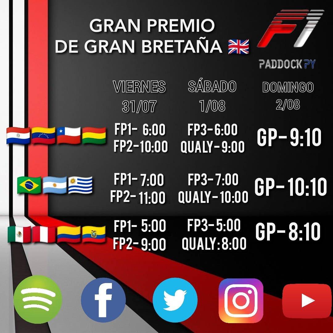 Les compartimos nuevamente los horarios para el #GPBritanico #BritishGP 🇬🇧 de este fin de semana.  Atención 🚨 que la FP1 y FP2 van una hora más tarde que las carreras anteriores.  La carrera irá solamente por Fox Action para LATAM.  #F1 #Formula1 #f1paddockpy #silverstone https://t.co/2cB2gc3Mw1