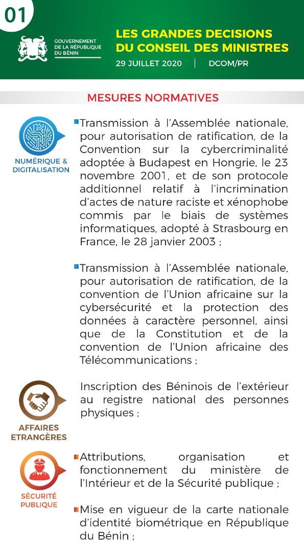 EeGb7T2WAAEd641?format=jpg&name=medium - Bénin: les grandes décisions du Conseil des ministres du 29 juillet 2020