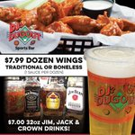 Happy #NationalChickenWingDay! LET'S CELEBRATE! 🥳 Come on in for $7.99 Dozen Wings (Traditional or Boneless), $7 32oz Jim, Jack & Crown Drinks, and $7 32oz DJ's Dugout Specialty Beers! Dine-in or carry out here https://t.co/duqkoKx1Ac