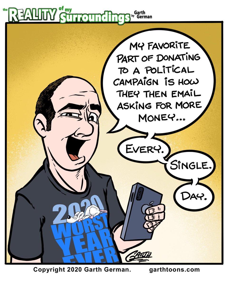 Political donation requests.   Follow for more cartoons! #Politics #fundraising #PoliticalCampaigns #Campaign #Election2020 #ElectionTwitter #elections #money #President #comics #comicstrip #webcomic #webcomics #dailycomicpic.twitter.com/acOjzN5c9Z