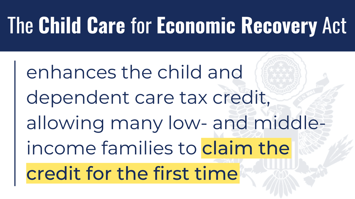This bill tackles these problems through a combination of tax relief for parents & child care providers, doubling the Child and Dependent Care Tax Credit & making it fully refundable so that low-income parents can access it like everyone else.