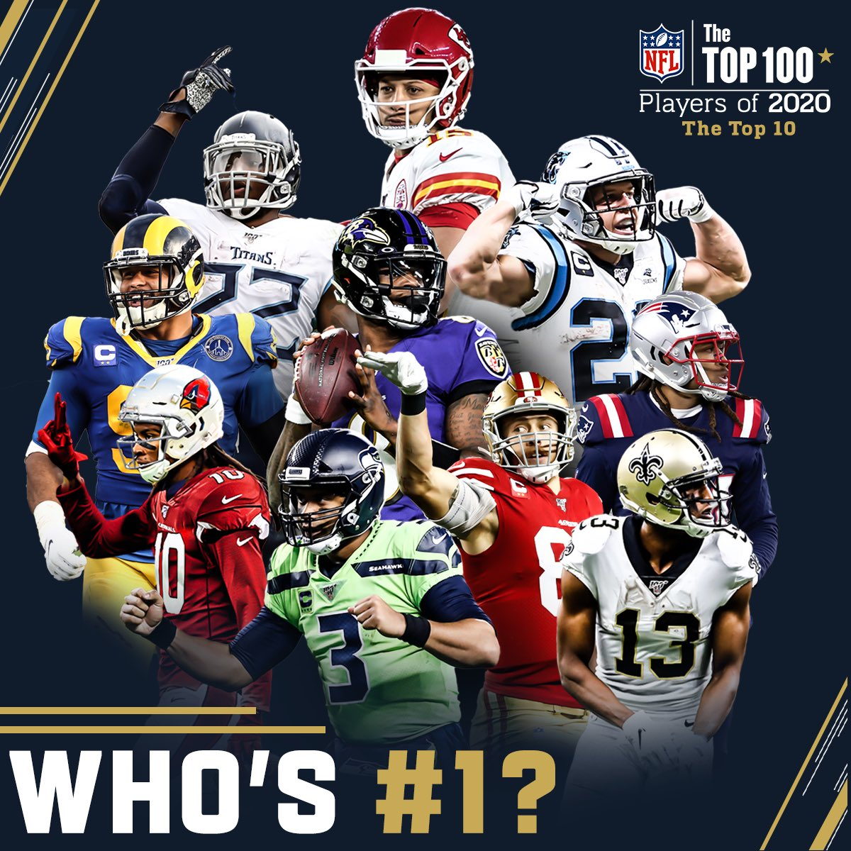 Who do you think takes the top spot? Top 10 (NOT in order): Aaron Donald, Derrick Henry, Patrick Mahomes, Russell Wilson, Lamar Jackson, Michael Thomas, Christian McCaffrey, George Kittle, DeAndre Hopkins, Stephon Gilmore. Exact order will be released @ 8pm EST. #NFLTop100