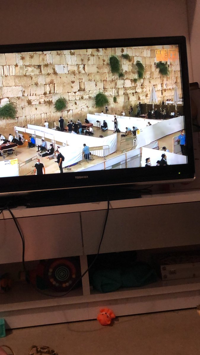 The Kotel is set up with social distancing pods