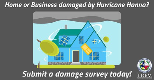 🚨ATTN: #Texas homeowners and businesses🚨 Self-report damages from #HurricaneHanna and request volunteer assistance by clicking this link: survey123.arcgis.com/share/10f5af12…