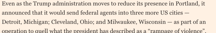 Then today, this in @FT. These are all big cities of swing states. Strategy is: send in feds to cause turmoil, then when a few protestors respond with violence, thats your excuse to stick around, and go in on election day to keep order + intimidate black people out of voting