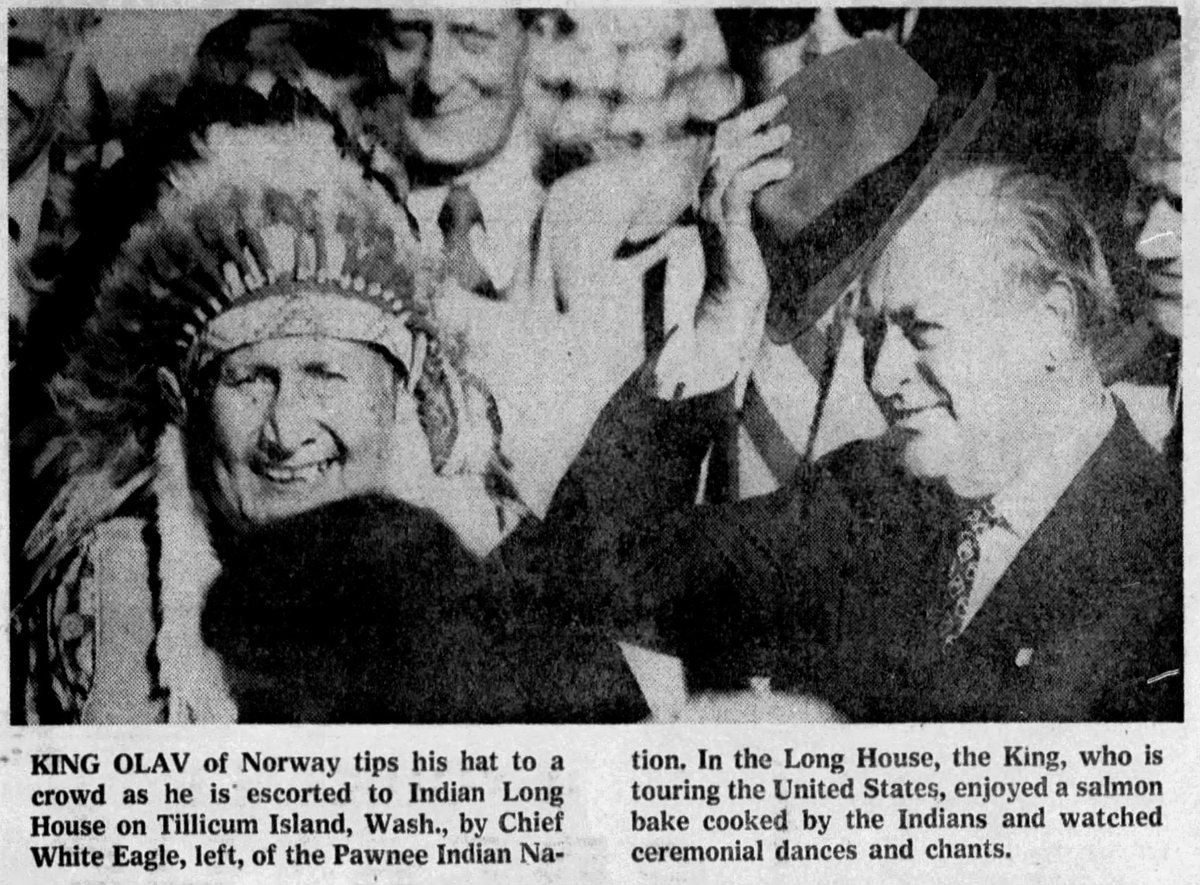 Brett Chapman On Twitter This Is A Leader Of My Tribe The Pawnee Nation With King Olav Of Norway During His 1975 Tour Of The Us Honoring Norwegian Immigrants Both Were Leaders Of Sovereign