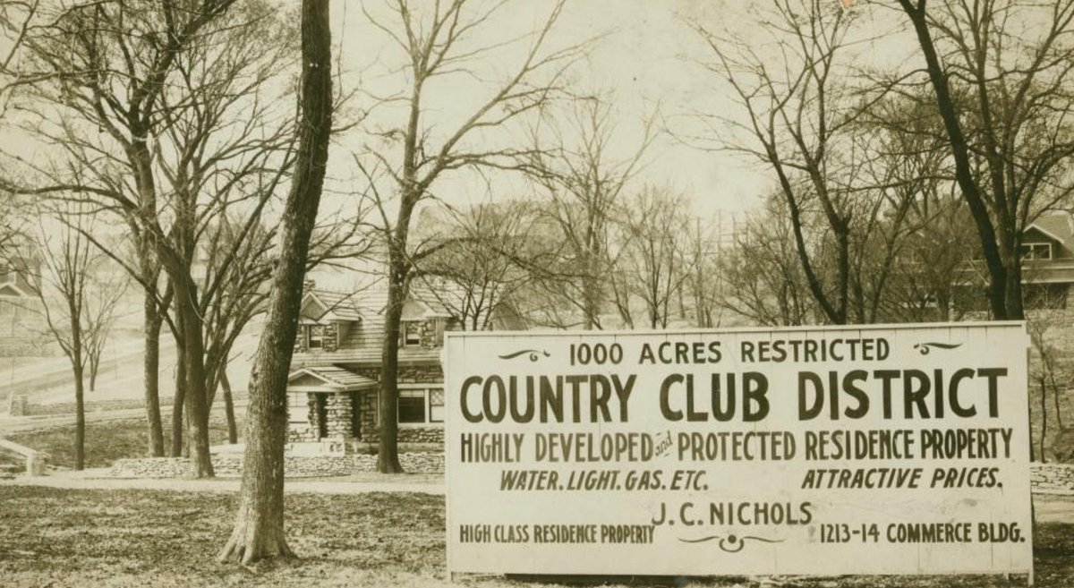 Billboard hawking new restricted white neighborhood, Kansas City, 1912: