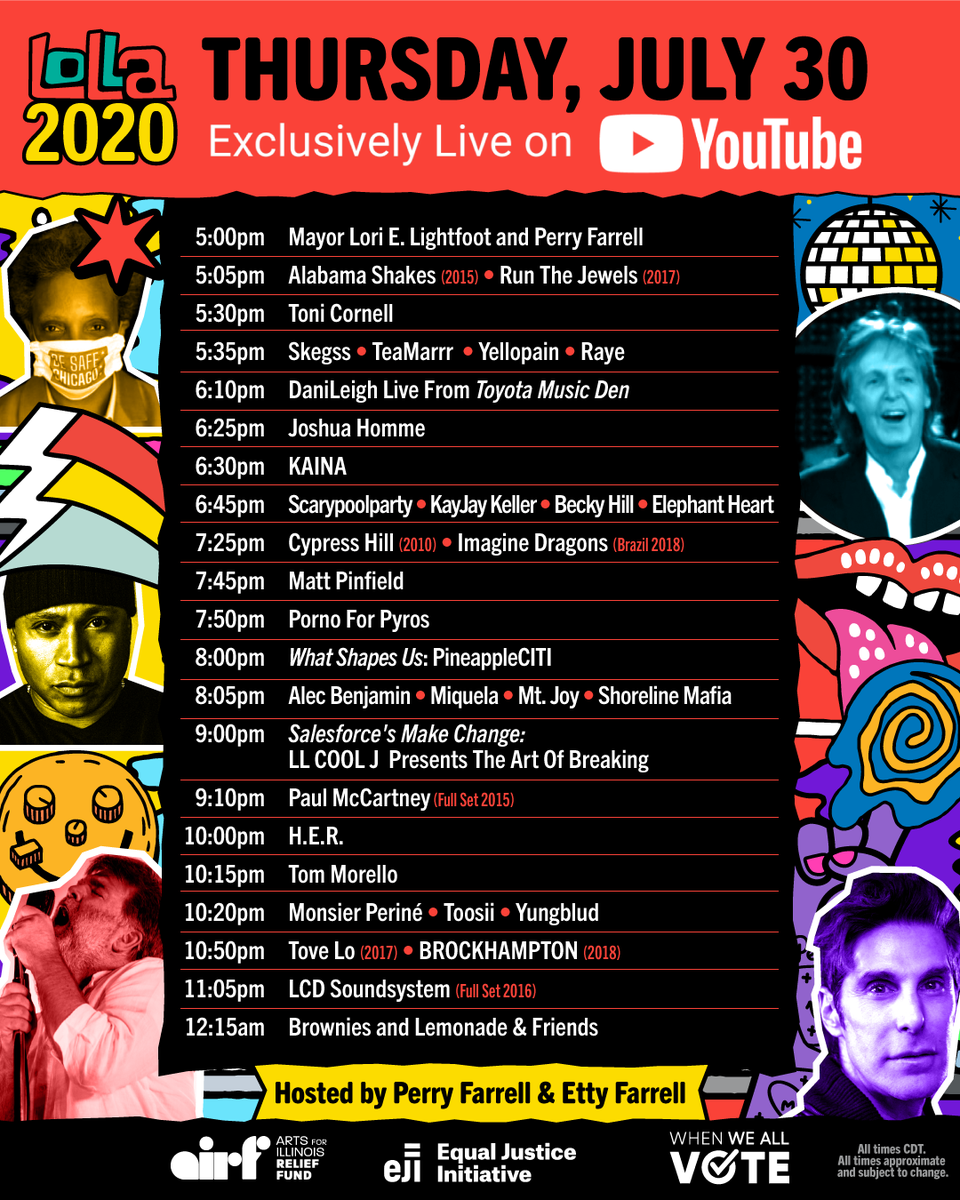 "Lollapalooza on Twitter: ""The Official #Lolla2020 Schedule is out now! Set  your reminder on @YouTube and tune in starting tomorrow at 5pm CT:  https://t.co/NR5x3QS0XY… https://t.co/XS5baAL6mH"""