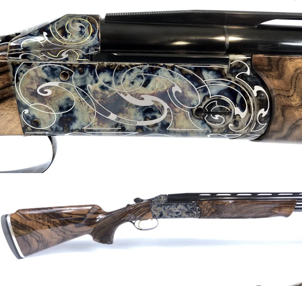 We're thrilled to have this stunning Krieghoff K-80 32″ Sporting, Custom Gold and Silver Scroll, Color Case Hardened in stock. Want to get a better look at this masterpiece? Give us a call at (210) 829-0297.  #customguns #engraving #shotguns #engravedguns #texas #firearmspic.twitter.com/RyxgoWM67b