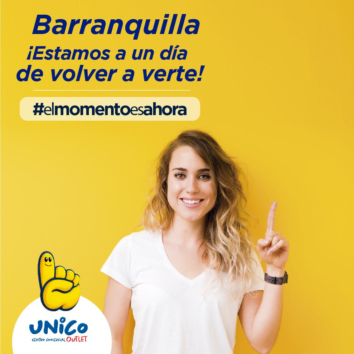¡Estamos a un día de abrir UNICO Barranquilla! ❤️  Consulta nuestros horarios y visítanos con todas las medidas de bioseguridad el día de tu pico y cédula🏃♀️🏃♂️  #Avancemoscuidándonos 🤩  #ComprarloquequieroesUNICO☝🏼💛 📲 Visítanos en https://t.co/y9AU3Ig04f #MegaOutlet https://t.co/y1s26opLds