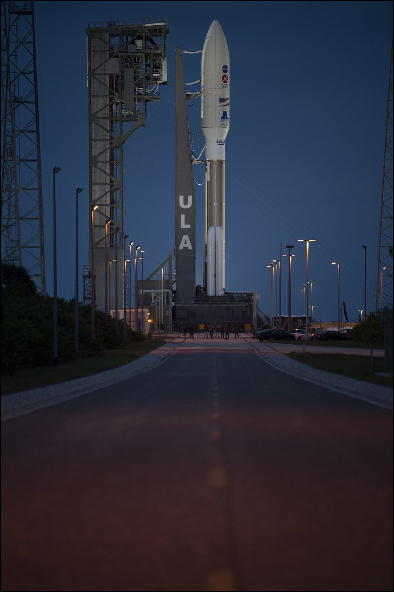 The @ulalaunch #AtlasV rocket carrying @NASAPersevere is seen illuminated by spotlights at Space Launch Complex 41. Launch slated for Thursday July 30 at 7:50 a.m. EDT. #CountdownToMars More 📷-  https://t.co/1C6QkuRetg https://t.co/sRgsiEDfhn