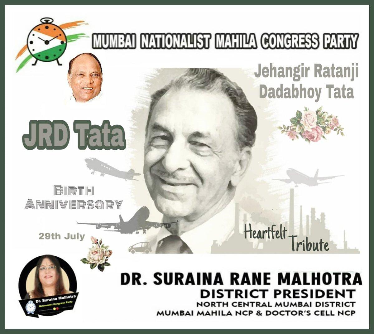 #HumbleTribute to #industrialist, #philanthropist & #father_of_Indian_Civil_Aviation, #BharatRatna Shri. #Jehangir_Ratanji_Dadabhoy #JRD_Tata ji on his #Birth_Anniversary. @TataCompanies #JRDTata  #DrSurainaMalhotra @supriya_sule @PawarSpeaks @Jayant_R_Patil @AjitPawarSpeakspic.twitter.com/nnpMCWmmpf