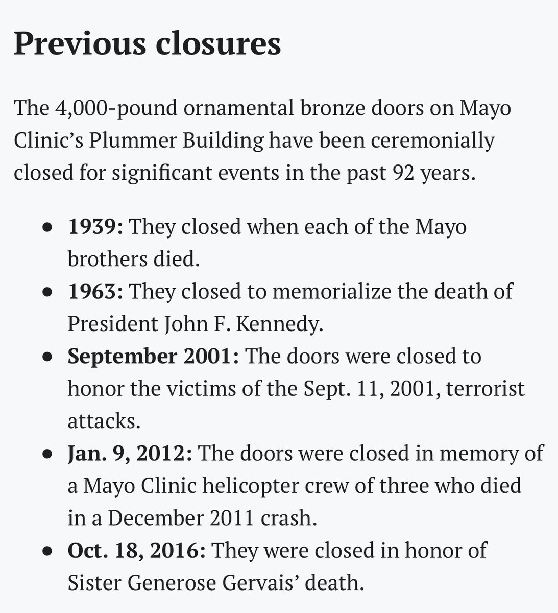 Note: they have only closed these doors 6 times in history. 2/ @MayoClinic