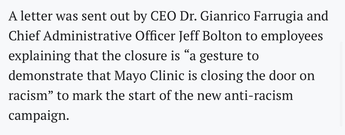 We are #closingthedoor on #racism. 3/ @MayoClinic