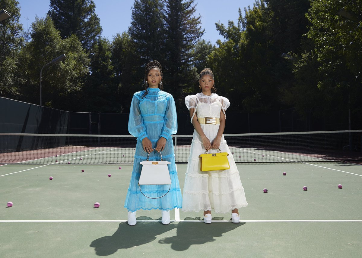 Pop Crave On Twitter Chloexhalle Convert Their Tennis Court Into A Stunning Photoshoot Set For Fendi