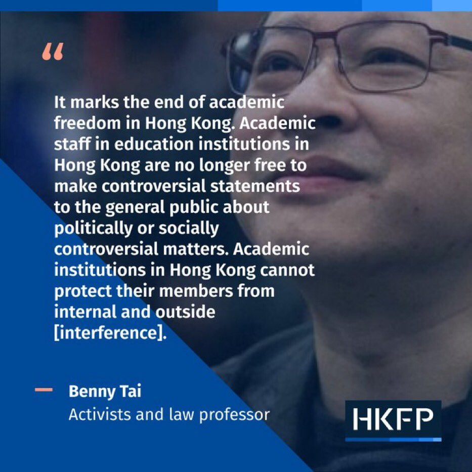 The Chairs call on #HongKong University to rescind its decision to fire #BennyTai for his efforts to organize democratic organizations & in violation of his fundamental human rights. US universities should sever ties w/HKU over this egregious violation of academic freedom.