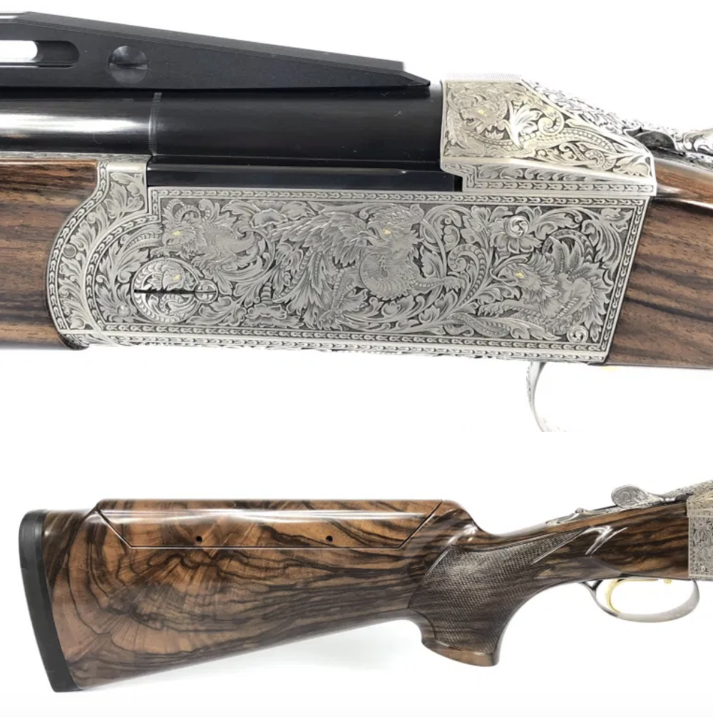 """Master Engraver Kaiser did an outstanding job  engraving this Krieghoff K-80, 32″ Pro Sporter, Custom """"Gargoyle"""" Theme. This work of art is now available here at Alamo Sporting Arms. Email pam@alamosportingarms.com for details. #customgun #clayshooting #engravedguns #handengravedpic.twitter.com/28hdnxTKSa"""