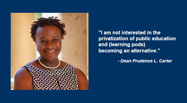 """As a mother + scholar, Dean @prudencelcarter tells @NPR, """"I'm thinking a lot about how to minimize the impact of privilege, particularly class privilege, on children's learning."""" https://t.co/mJ8GjFQL17 https://t.co/4jMQxxaki2"""
