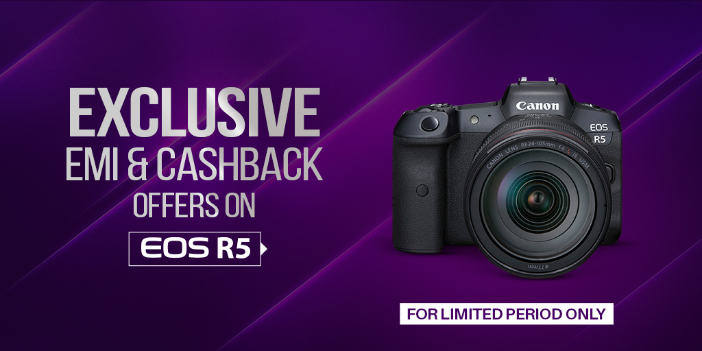 The wait is over! Introducing exclusive EMI & Cashback offers on Canon EOS R5. Hurry! Don't miss this chance to avail the limited period offers. Visit your nearest Canon authorized store TODAY!  Click here to know more: https://t.co/BkDIGQptAA T&C Apply  #Cashback #CanonCameras https://t.co/RK9Y6y19Ox