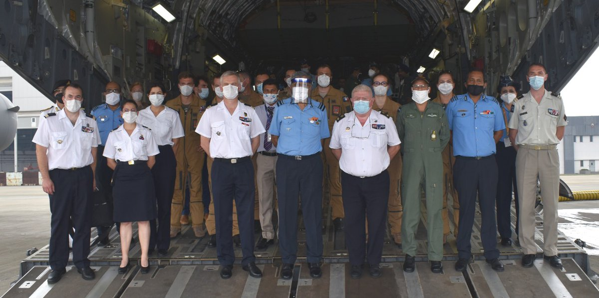 On 29 Jul 20, a French Armed Forces Medical Delegation, led by General Patrick Derain, visited AF Station Hindan for professional interaction with IAF Aeromedical Delegation & demonstration of Aeromedical Evacuation on C-17 aircraft by the IAF. #IndianAirForce @Armee_de_lair