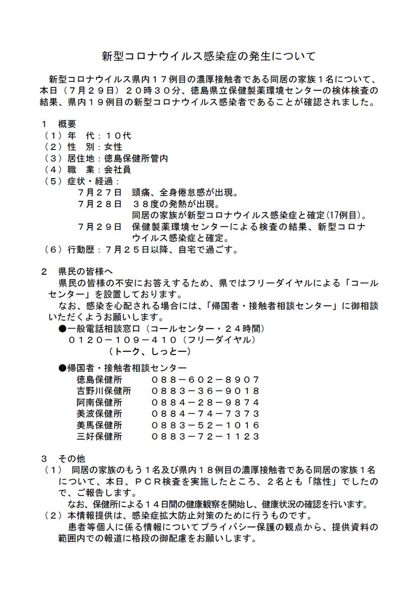 者 コロナ 感染 徳島 県
