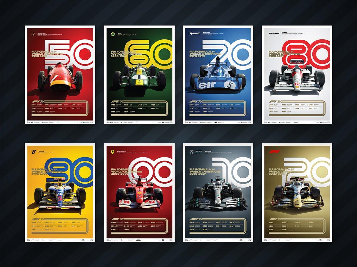 Aquí la colección especial de 8 posters edición limitada de @F1 y @IAmAutomobilist que conmemora los 70 años de la #F1 en honor a los autos más emblemáticos de las siete décadas de #Formula1  #F170Anniversary  #F12020  #F1Rewind https://t.co/GEozInuSsJ