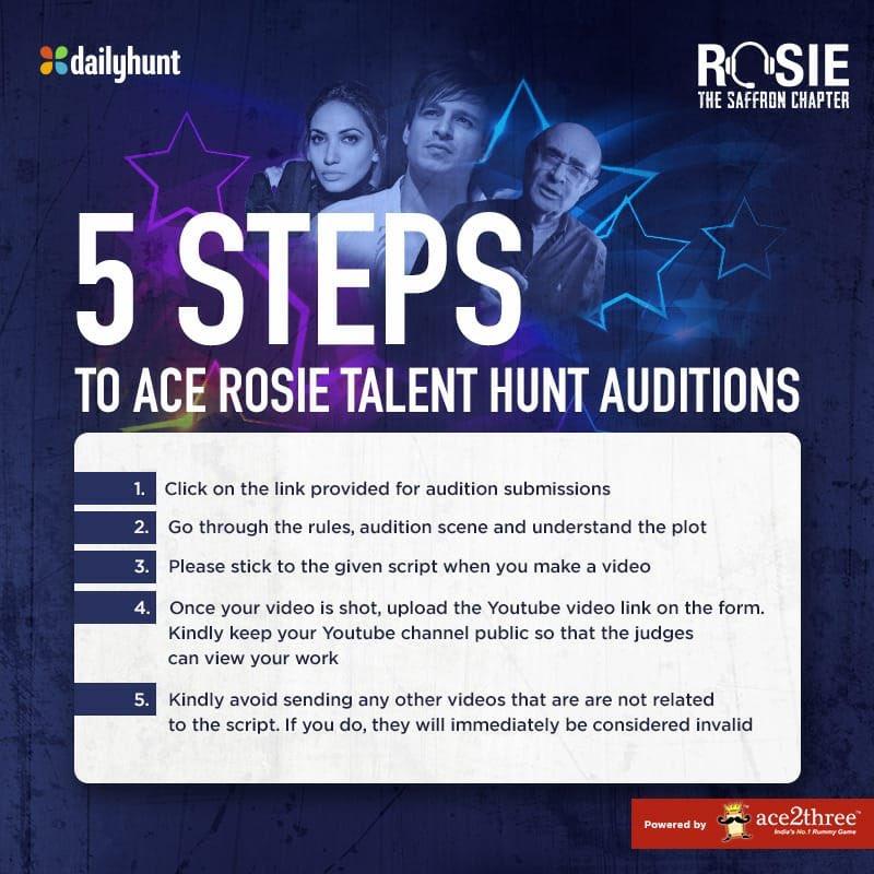 Follow the 5 steps given & increase your chances of winning the #RosieTalentHunt. Click on this talenthunt.dhunt.in/akoJr to send in your applications! #ProminentRole @vivekoberoi #PrernaVArora @mandiraa_ent @mishravishal @girishjohar @d_reshabh @sanjeetyermal @RosieIsComing