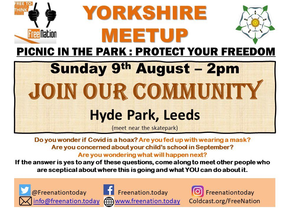 SAVE THE DATE @freenationtoday are protesting again! Join our community if you are local to Leeds as we need each other to make a stand 🧡 we must keep standing together! #Leeds #leedsprotest #freedom #awake #NoNewNormal #wedonotconsent #WakeUpPeople #NoVaccines #news #corona https://t.co/ub14AAW45a