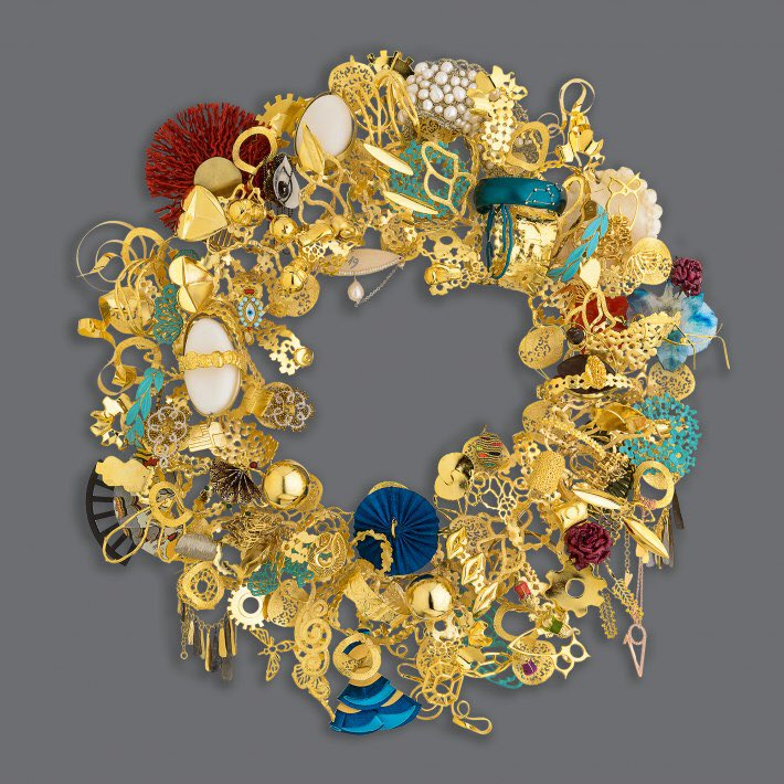 One of a kind Wreath created from jewelry by all Designers-Participants of AJMIG 2019. View more jewels at our e-shop http://ajewelmadeingreece.gr/el or visit our stores at Syntagma & Spetses. #greekdesigners #jewellery #Jewel #jewelryaddict #jewelry #jewelrydesigner #jewelrydesignpic.twitter.com/OP1dNYTgom – at Spetses