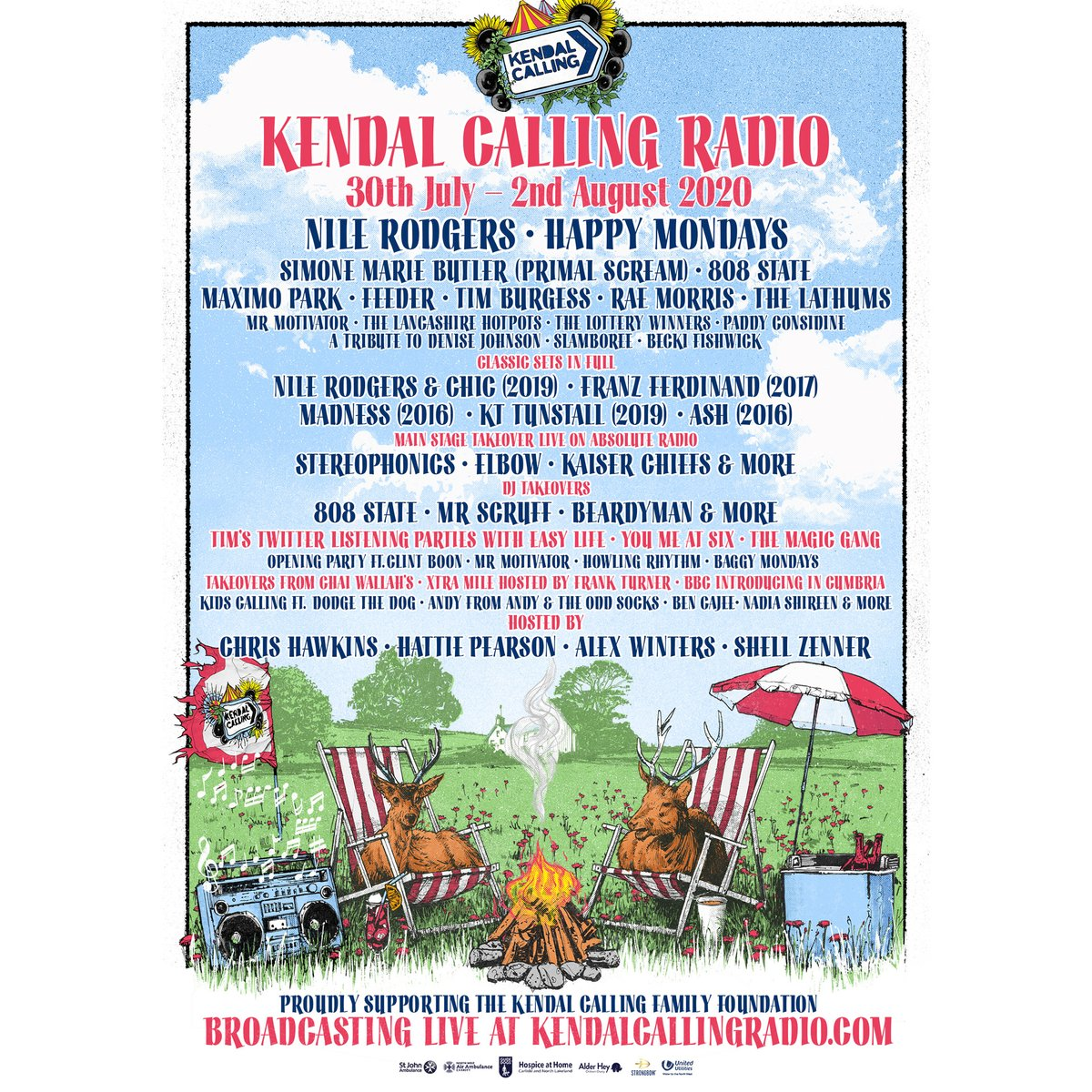 Delighted to announce #NileRodgersAndCHIC will be part of @KendalCalling this weekend!  Check out an exclusive interview with @hattiepearson between 3-6pm UK time Friday, then the full #NileRodgers & #CHIC set at 8:30pm Friday.  Head to https://t.co/520pdN4Cc6 to find out more! https://t.co/oxLoDKoGom