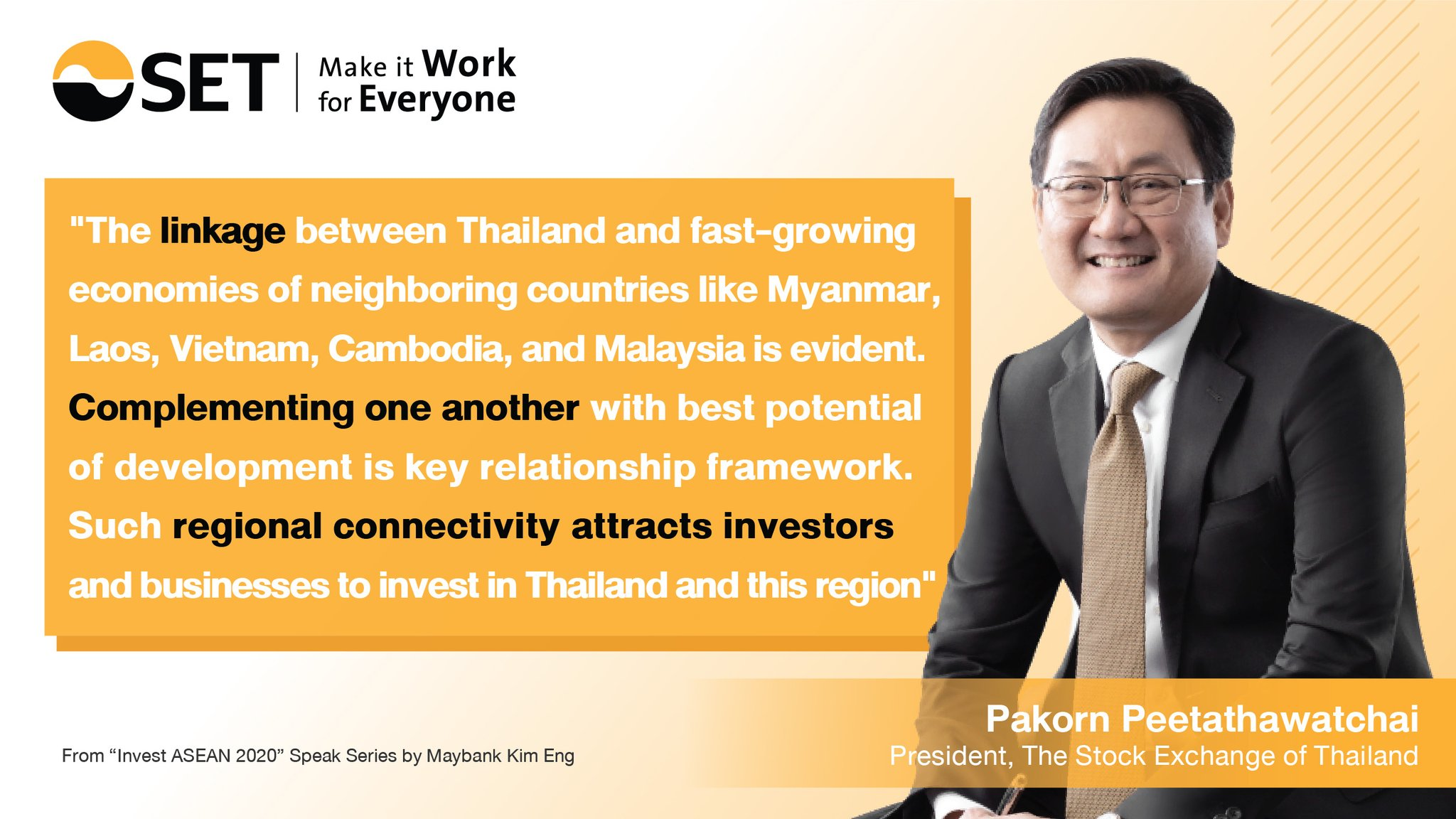Set Thailand En On Twitter Set President S Speech At Invest Asean 2020 Recently Held By Maybank Kim Eng Giving His Views On Clmv Linkage To Attract Investment Into This Region Maybank Ke Th Mymaybank Https T Co Zt6ofo2vmu