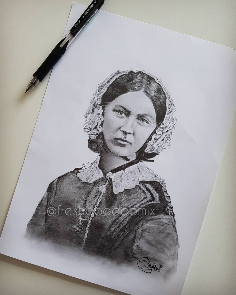 Jamie, an NHS Responder for South London, drew this amazing picture of Florence Nightingale to celebrate #InternationalNursesDay, auctioning it off to raise money for Guy's and St Thomas'.  May, from Pinner, put in the winning bid, raising £125 for @GSTTnhs.  Thank you so much❤️ https://t.co/jY4So9j27B