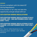Image for the Tweet beginning: 📢18th Edition Wiring Regulation course📢  Dates: ▪️18th