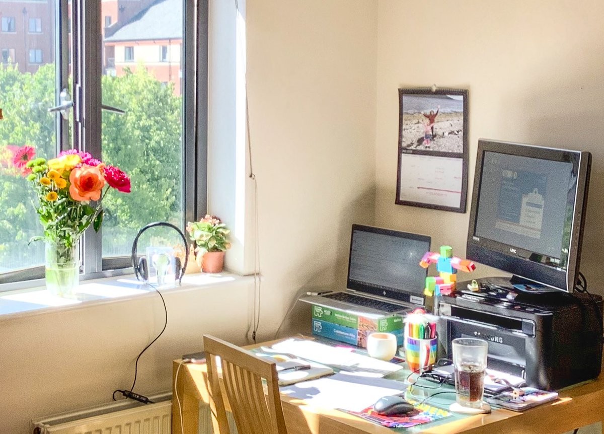 Most important thing about set-up for working from home - next to the window, to maximise natural light (As much natural light exposure as possible in the daytime is one really useful way to try to keep your body clock on track, to aid better sleep!)