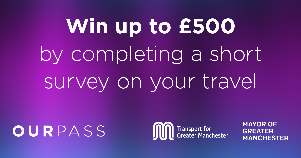 Want to be in with a chance of winning up to £500? 💸 Our friends over at @OurPassGM want to know a bit about how you get around! Follow this link to complete a short survey on travel in Greater Manchester 🚍🚌 systraltd.researchfeedback.net/Our_Pass_Survey