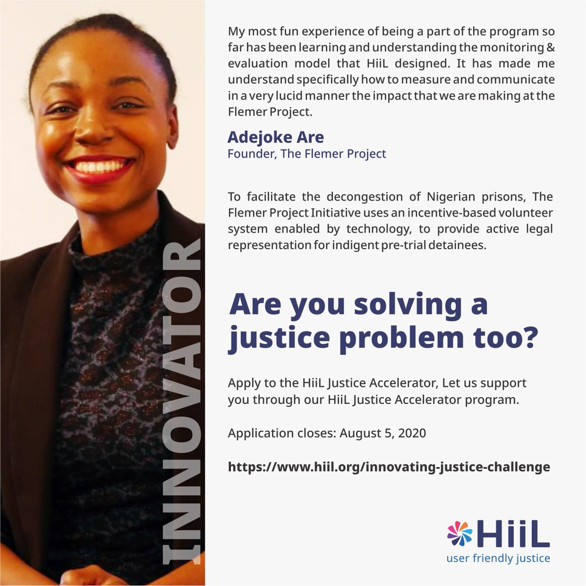 7 days to go!!!  What justice problem are you solving?  Applied for the Hiil Innovating Justice Challenge?  Applications close by August 5.  Apply here: https://t.co/3947YFZEgx  #justinnovate #innovatingjusticechallenge2020 #accesstojustice #SDGs #SDG16 https://t.co/onQUOVLm0J