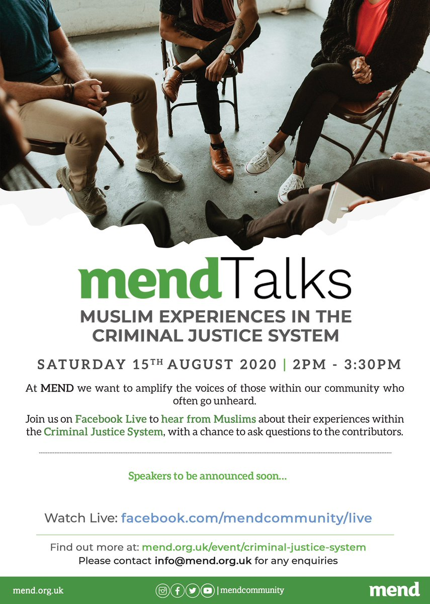 #MENDTalks: Muslim Experiences in the Criminal Justice System Join us live on FB on 15.08.20 to hear from individuals with lived experience of the CJS, academics, and activists on what it means to be a Muslim in the system.  Speakers to be announced here: https://t.co/fpKox6KFT7 https://t.co/V9zGJ6hm8D