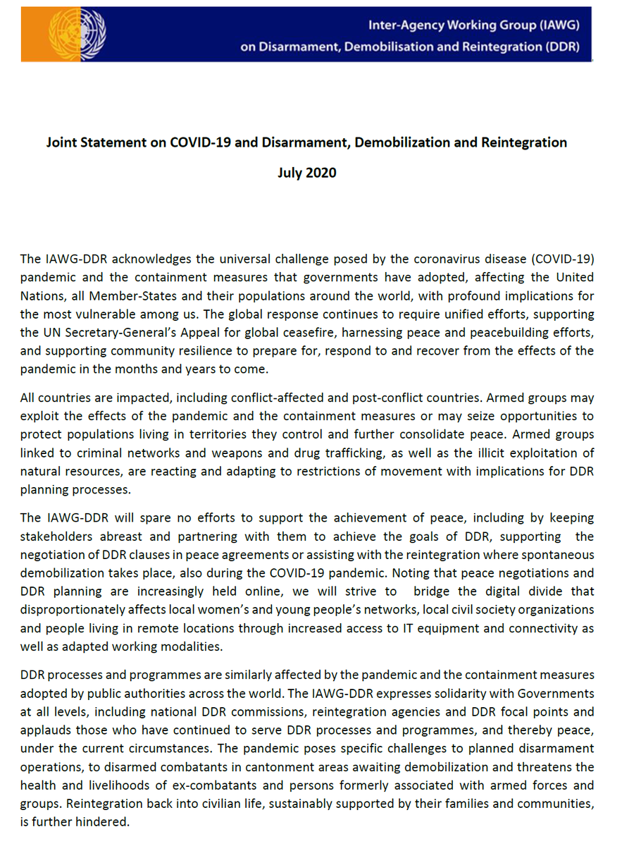 The IAWG on Disarmament, Demobilization and Reintegration released a joint statement on #COVID19 and #DDR, as well as a rapid self-assessment tool for practitioners, emphasizing the criticality of continued support to peace processes and the global COVID-19 response.   #A4P https://t.co/Kj3wVjhoyx