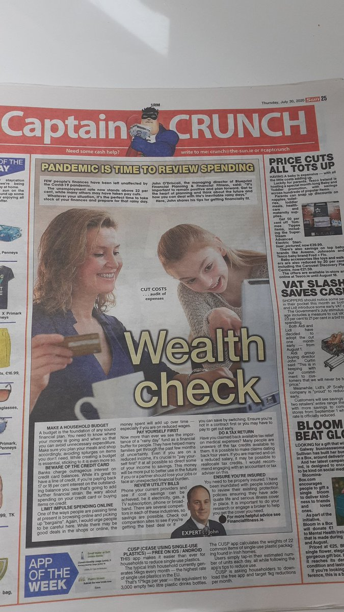 Sound financial advice from @JOD_Financial in today's @IrishSunOnline  https://t.co/VxPNiD1RUJ  Check your financial fitness @ https://t.co/8QLlECHj0L https://t.co/51c5Ykpy0c